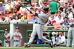 The Braves' Adam LaRoche takes a swing on Monday, May 30, 2005. The Washington Nationals defeated the Atlanta Braves 3-2 at RFK Stadium in Washington, DC.