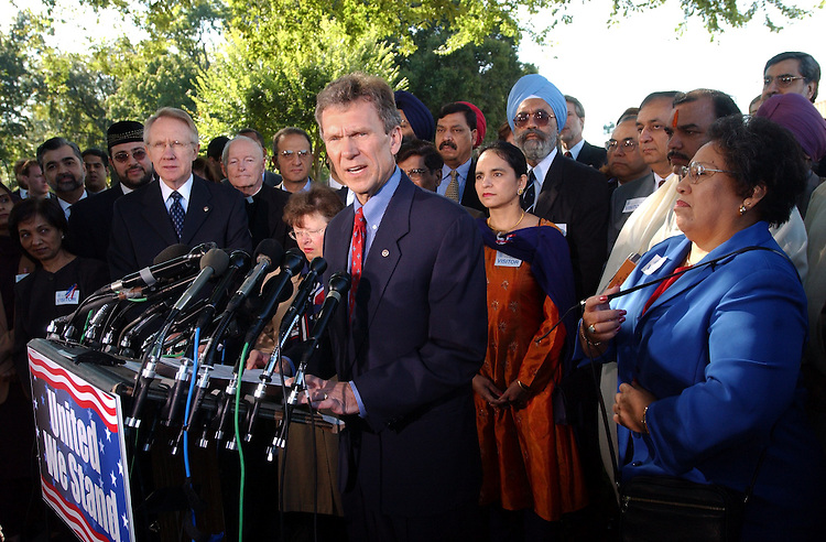1unity092601 -- Sen. Tom Daschle, D-S.D., speaks a press conference with Democratic and Republican leadership and people of many faiths, to promote unity againest terrorism and hate crimes.