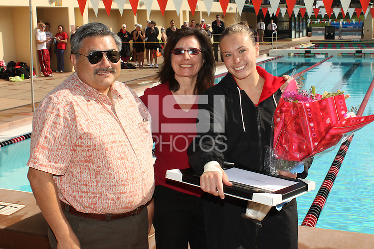 STANFORD, CA - FEBRUARY 13:  Carmen Stellar of the Stanford Cardinal on Senior Day during Stanford's 167-131 win over California at the Avery Aquatic Center on February 13, 2010 in Stanford, California.