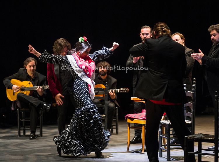 London, UK. 21.02.2018. Legendary flamenco artist La Chana makes a rare appearance at this year's Gala Flamenca with guest artists: Ángel Rojas, Antonio Canales, El Farru, Gema Moneo, 21-23 Feb 2018. Photo shows: El Farru, Gema Moneo. Photo - © Foteini Christofilopoulou.