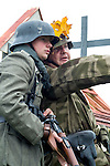 Re-enactors portrayiing a German Infantry from the 276th Volksgrenadier Division during a battle battle re-enactment in on Pickering Showground<br /> <br /> 17/18 October 2015<br />  Image © Paul David Drabble <br />  www.pauldaviddrabble.co.uk