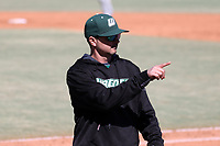 CARY, NC - FEBRUARY 23: Head coach Jim Carone of Wagner College signals to the bullpen during a game between Wagner and Penn State at Coleman Field at USA Baseball National Training Complex on February 23, 2020 in Cary, North Carolina.