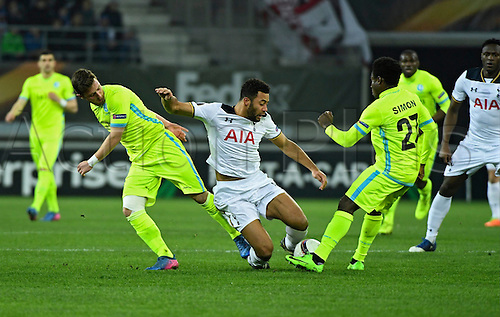February  16th 2017, Ghent, Belgium;   Dembele Mousa midfielder of Tottenham  and Brecht Dejaegere midfielder of KAA Gent during the UEFA Europa League Round of 32  First Leg between  KAA Gent and Tottenham Hotspur