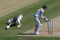 Kent's Ollie Robinson on 98 at the time was given not out even though the bails are off before he reaches the crease    during Kent CCC vs Yorkshire CCC, Specsavers County Championship Division 1 Cricket at the St Lawrence Ground on 15th May 2019