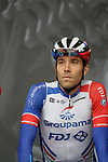 Thibaut Pinot (FRA) Groupama-FDJ at the team presentations before Stage 1 of the Criterium du Dauphine 2019, running 142km from Aurillac to Jussac, France. 9th June 2019<br /> Picture: Colin Flockton | Cyclefile<br /> All photos usage must carry mandatory copyright credit (© Cyclefile | Colin Flockton)