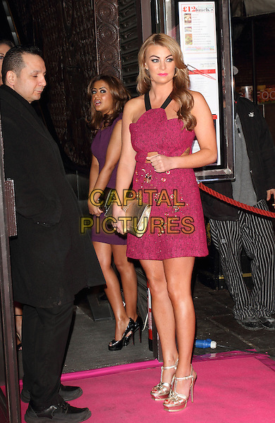 Billi Mucklow.new! magazine 10th Anniversary Party at Gilgamesh, London, England..March 5th 2013.full length pink sleeveless gold beads beaded clutch bag sandals shoes dress cut out fuchsia hand arm.CAP/ROS.©Steve Ross/Capital Pictures