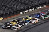 #16: Brett Moffitt, Hattori Racing Enterprises, Toyota Tundra Otics USA Inc./Toyota Tsusho and #8: John Hunter Nemechek, NEMCO Motorsports, Chevrolet Silverado D.A.B. Constructors, Inc. / Fleetwing Corporation