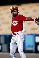 Reggie Sanders of the Cincinnati Reds at Dodger Stadium in Los Angeles,California during the 1996 season. (Larry Goren/Four Seam Images)