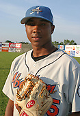 August 16, 2003:  Pitcher Carlos Torres of the Aberdeen Ironbirds, Class-A affiliate of the Baltimore Orioles, during a game at Falcon Park in Auburn, NY.  Photo by:  Mike Janes/Four Seam Images