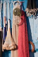 Europe/France/Corse/2B/Haute-Corse/Cap Corse/Bastia: détail filets d'un cabanon de pêcheurs sur le Vieux Port