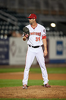 Harrisburg Senators relief pitcher Bryan Harper (39) looks in for the sign during a game against the Erie SeaWolves on August 29, 2018 at FNB Field in Harrisburg, Pennsylvania.  Harrisburg defeated Erie 5-4.  (Mike Janes/Four Seam Images)