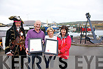 Portmagee shines brightest as it wins the Title of Fáilte Irelands First Tourism Town, pictured here l-r; Gabriel Butler(AKA Theobald McGee), John Murphy(Chair-Portmagee Tidy Towns) & Deirdre Moran(Portmagee Tidy Towns).