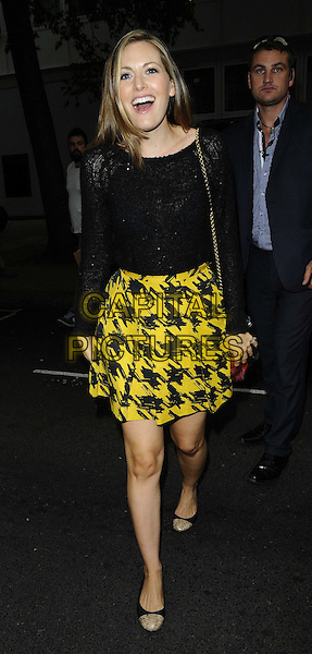 Olivia Lee<br /> The KEY Fashion new online fashion boutique launch party, Vanilla, London, England.<br /> September 25th, 2013<br /> full length black top lace yellow kilt skirt houndstooth dogtooth print mouth open<br /> CAP/CAN<br /> &copy;Can Nguyen/Capital Pictures