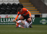 Mark Millar collides with Jon Robertson on the ground in the St Mirren v Dundee United Clydesdale Bank Scottish Premier League match played at St Mirren Park, Paisley on 27.10.12.