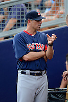 Boston Red Sox coach Torey Lovullo #17 during a Grapefruit League Spring Training game against the Tampa Bay Rays at Charlotte County Sports Park on February 25, 2013 in Port Charlotte, Florida.  Tampa Bay defeated Boston 6-3.  (Mike Janes/Four Seam Images)