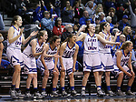 SIOUX FALLS, SD: MARCH 19:  The Lubbock Christian bench celebrates a score against Central Missouri during their game at the 2018 Division II Women's Elite 8 Basketball Championship at the Sanford Pentagon in Sioux Falls, S.D. (Photo by Dick Carlson/Inertia)