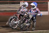 Heat 8 re-run: Norbert Kosiuch (white) and Rob Mear (blue) - Lakeside Hammers vs Peterborough Panthers - Sky Sports Elite League Speedway at Arena Essex Raceway, Purfleet - 14/09/12 - MANDATORY CREDIT: Gavin Ellis/TGSPHOTO - Self billing applies where appropriate - 0845 094 6026 - contact@tgsphoto.co.uk - NO UNPAID USE.