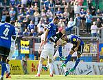 Saarbr&uuml;ckens Fabian Eisele (r.) trifft neben Saarbr&uuml;ckens Marco Holz und Pirmasens Philipp Schuck zum 2:0 beim Spiel in der Regionalliga Suedwest, 1. FC Saarbruecken - FK Pirmasens.<br /> <br /> Foto &copy; PIX-Sportfotos *** Foto ist honorarpflichtig! *** Auf Anfrage in hoeherer Qualitaet/Aufloesung. Belegexemplar erbeten. Veroeffentlichung ausschliesslich fuer journalistisch-publizistische Zwecke. For editorial use only.