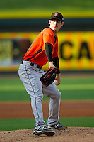Frederick Keys starting pitcher Tim Berry (23) in action against the Winston-Salem Dash at BB&T Ballpark on May 28, 2013 in Winston-Salem, North Carolina.  The Dash defeated the Keys 17-5 in the first game of a double-header.  (Brian Westerholt/Four Seam Images)
