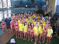 The Plunge Swimming Pool, Mission Beach, San Diego CA, USA.  August 6 2013:  Students and instructors stand on the deck of the Plunge swimming pool after more than 60 San Diego Junior Lifeguards particiapted in a PADI Discover Scuba Diving Program hosted by the San Diego Junior Lifeguard Foundation.  Over the course of the summer more than 220 Junior Guards were introduced to SCUBA.