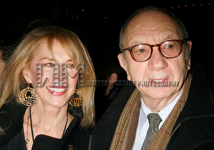Neil Simon with wife Elaine Joyce arriving for the Opening Night Performance of Eugene O'Neill's A MOON FOR THE MISBEGOTTEN at the Brooks Atkinson Theatre in New York City.<br />April 9, 2007