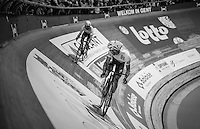 elimination race finale between Iljo Keisse (BEL/Etixx-QuickStep) &amp; Mark Cavendish (GBR/Dimension Data)<br /> <br /> 2016 Gent 6<br /> day 4