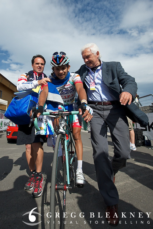 Rujano was the only man to challenge Contador today.  His second place finish was a big win for team Androni.