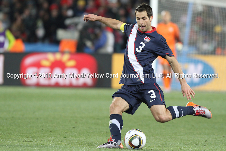 18 JUN 2010: Carlos Bocanegra (USA). The Slovenia National Team tied the United States National Team 2-2 at Ellis Park Stadium in Johannesburg, South Africa in a 2010 FIFA World Cup Group C match.