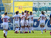 20190306 - LARNACA , CYPRUS : Hungarian players pictured celebrating their goal and the 1-2 lead during a women's soccer game between Slovakia and Hungary , on Wednesday 6 th March 2019 at the Antonis Papadopoulos stadium in Larnaca , Cyprus . This last game for both teams which decides for places 11 and 12 of the Cyprus Womens Cup 2019 , a prestigious women soccer tournament as a preparation on the Uefa Women's Euro 2021 qualification duels. PHOTO SPORTPIX.BE | DAVID CATRY