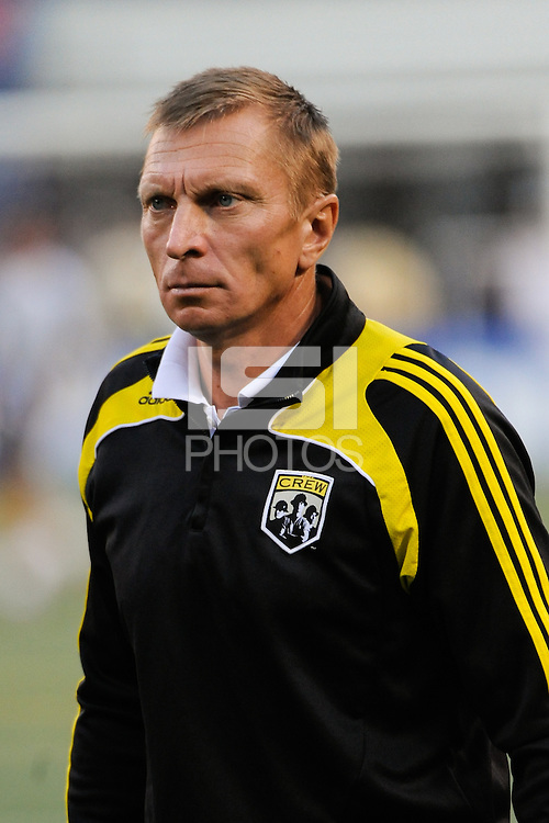 Columbus Crew assistant coach Vadim Kirillov. The New York Red Bulls defeated the Columbus Crew 1-0 during a Major League Soccer match at Giants Stadium in East Rutherford, NJ, on August 30, 2009.