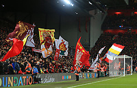 """27th November 2019; Anfield, Liverpool, Merseyside, England; UEFA Champions League Football, Liverpool versus SSC Napoli ; fans no the Kop wave giant flags as they sing 'You'll Never Walk Alone"""" prior to the kick off  - Editorial Use"""