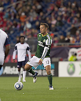 Portland Timbers midfielder Jack Jewsbury (13) at midfield. In a Major League Soccer (MLS) match, the New England Revolution tied the Portland Timbers, 1-1, at Gillette Stadium on April 2, 2011.