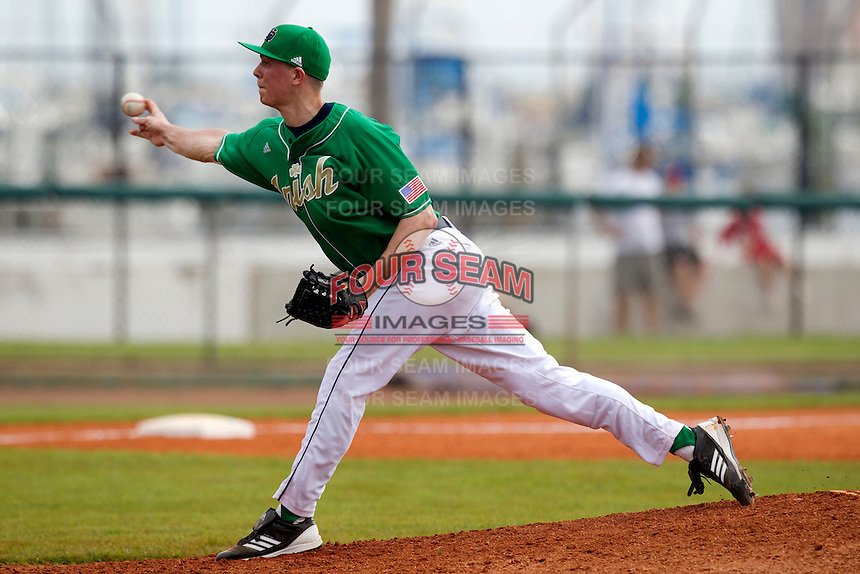 Notre Dame Fighting Irish pitcher Matt Temowchek #42 delivers a pitch during a game against the Purdue Boilermakers at the Big Ten/Big East Challenge at Al Lang Stadium on February 19, 2012 in St. Petersburg, Florida.  (Mike Janes/Four Seam Images)