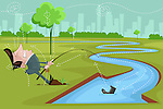 Illustrative image of businessman fishing in stream with downward arrow representing loss