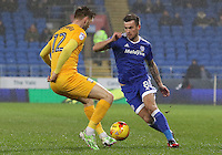 Joe Ralls of Cardiff City is challenged by Paul Gallagher of Preston North End during the Sky Bet Championship match between Cardiff City and Preston North End at Cardiff City Stadium, Wales, UK. Tuesday 31 January 2017
