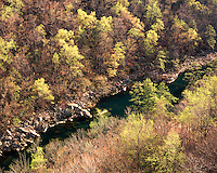 The Little River in the fall as viewed from Wolf Creek Overlook; Little River Canyon National Preserve, AL