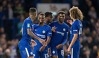 Michy Batshuayi of Chelsea celebrates his 3rd goal and his teams 6th with the young players who feature for the first time this season during the Carabao Cup (Football League cup) 23rd round match between Chelsea and Nottingham Forest at Stamford Bridge, London, England on 20 September 2017. Photo by Andy Rowland.