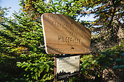 Entering Dry River Wilderness sign along the Mount Eisenhower Trail in the White Mountains, New Hampshire USA during the summer months