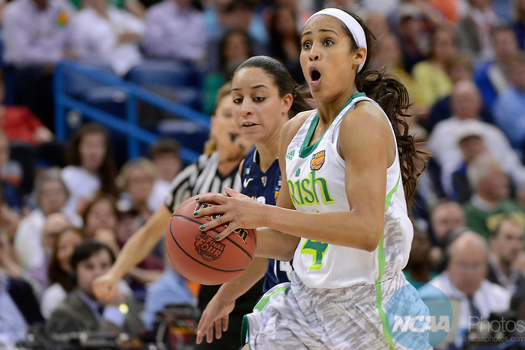 07 APR 2013:  Skylar Diggins (04) of the University of Notre Dame drives to the hoop against Bria Hartley (14) of the University of Connecticut during the Division I Women's Basketball Championship in New Orleans, LA.  Connecticut defeated Notre Dame 83-65 to advance to the national title game.  Jamie Schwaberow/NCAA Photos