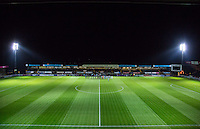 The teams line up on the pitch before during the The Checkatrade Trophy match between Wycombe Wanderers and West Ham United U21 at Adams Park, High Wycombe, England on 4 October 2016. Photo by Andy Rowland.