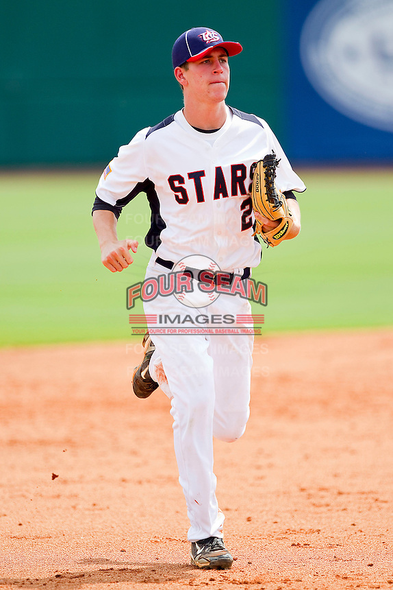 Drew Jackson #2 of STARS jogs off the field between innings of the game against NABF at the 2011 Tournament of Stars at the USA Baseball National Training Center on June 25, 2011 in Cary, North Carolina.  The Stars defeated NABF 7-1.  (Brian Westerholt/Four Seam Images)