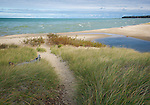 Port Crescent State Park, Michigan<br /> Sand pathway through the dune grasses leads down to a sand beach on the shores of Lake Huron