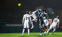 Aaron Pierre of Wycombe Wanderers heads at goal during the Sky Bet League 2 match between Wycombe Wanderers and Notts County at Adams Park, High Wycombe, England on 15 December 2015. Photo by Andy Rowland.