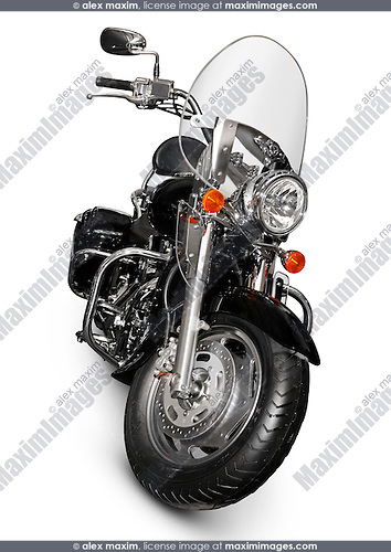 Black 2006 Kawasaki Vulcan 1600 Nomad Classic Touring motorbike. Isolated on white background with clipping path