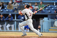 Hickory Crawdads third baseman Joey Gallo #30 hits a home run during a game against the Asheville Tourists at McCormick Field on April 15, 2013 in Asheville, North Carolina. The Crawdads won the game 6-3. (Tony Farlow/Four Seam Images via AP Images).