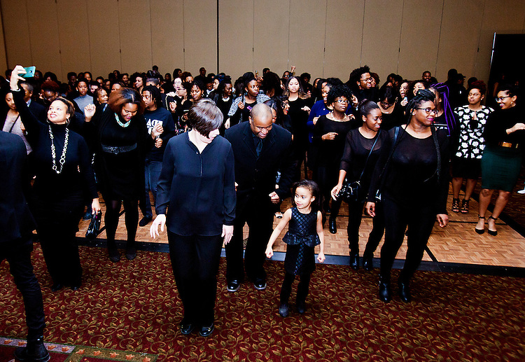 "Attendees enjoy ""line dancing"" at the All Black Affair at Baker University Center Ballroom at Ohio University on Friday, January 29, 2016. © Ohio University / Photo by Sonja Y. Foster"