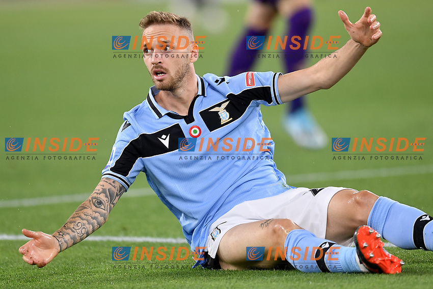Manuel Lazzari of SS Lazio reacts during the Serie A football match between SS Lazio and ACF Fiorentina at stadio Olimpico in Roma ( Italy ), June 27th, 2020. Play resumes behind closed doors following the outbreak of the coronavirus disease. Photo Antonietta Baldassarre / Insidefoto
