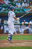 Eric Peterson (15) of the Ogden Raptors bats against the Billings Mustangs at Lindquist Field on August 18, 2018 in Ogden, Utah. Billings defeated Ogden 6-4. (Stephen Smith/Four Seam Images)