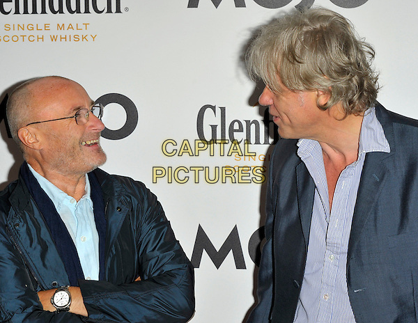 Phil Collins & Sir Bob Geldof.Mojo Honours List 2011 Awards Ceremony, held at The Brewery - Arrivals London, England..July 21st, 2011.half length shirt jacket beard facial hair glasses blue profile.CAP/CJ.©Chris Joseph/Capital Pictures.