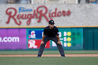 Umpire Isaias Barba during a Texas League game between the Springfield Cardinals and Frisco RoughRiders on May 5, 2019 at Dr Pepper Ballpark in Frisco, Texas.  (Mike Augustin/Four Seam Images)